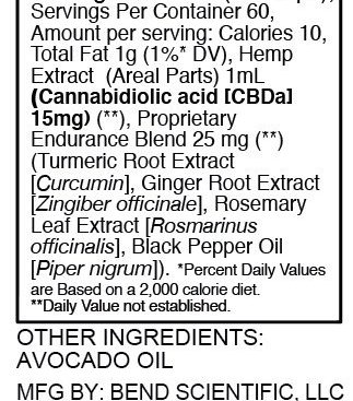 Banzai Wellness Network - Bend Scientific CBD - Endurance - Nutrition Facts